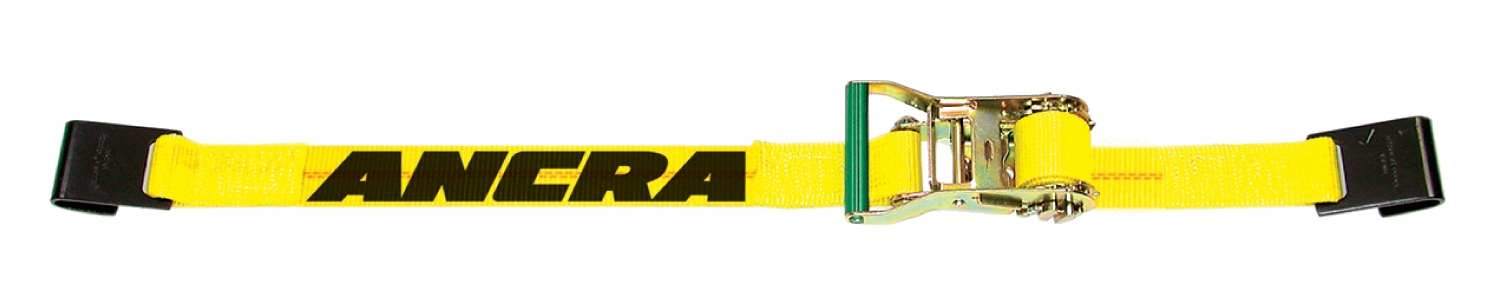 Ancra 2 in. Ratchet Strap w/ A-43120-13 Wire Hooks. Fixed End 18″
