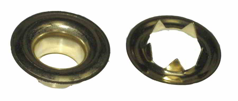 PLAIN GROMMETS WITH TOOTH WASHERS Brass Size:0 ID:9/32""